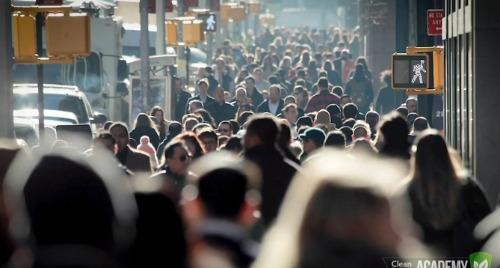 Crowded street of people walking.