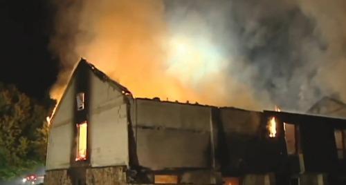 House burning.